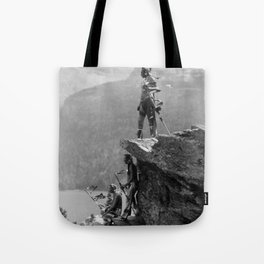 Eagle's Lookout, Blackfoot tribe members, Glacier Park, Montana, 1913 black and white photography Tote Bag