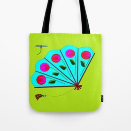 A Fan with Roses and a Dragon Fly Tote Bag