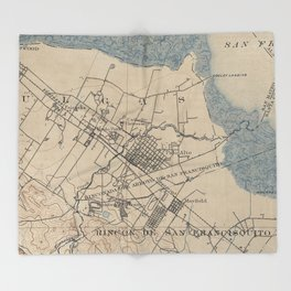 Vintage Map of Palo Alto California (1895) Throw Blanket