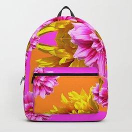 FUCHSIA PINK DAHLIAS & YELLOW SUNFLOWERS GARDEN ART Backpack