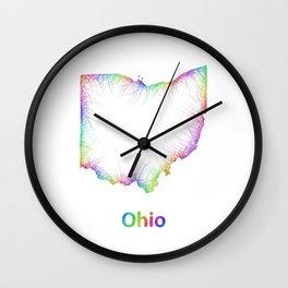 Rainbow Ohio map Wall Clock