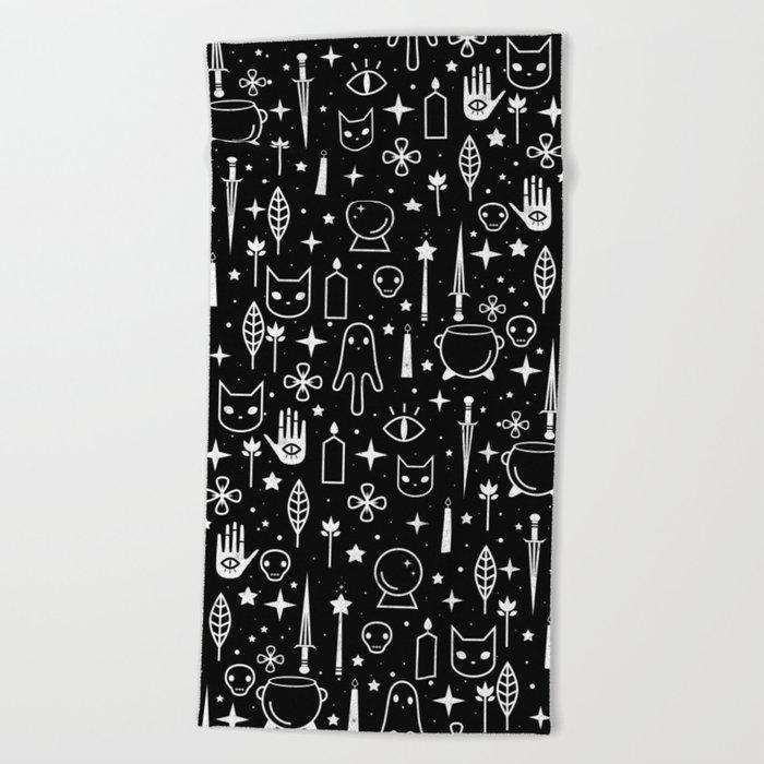 Spirit Symbols Black Beach Towel
