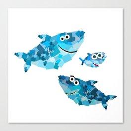 Square Shark Family! - Doo Doo Doo - Mommy, Daddy, Baby! Canvas Print