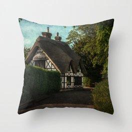 A Berkshire Half Timbered Cottage Throw Pillow