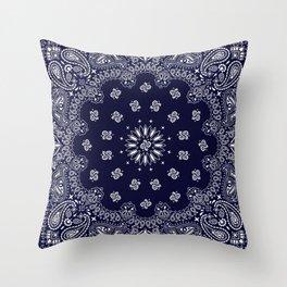 Paisley - Bandana - Navy Blue - Southwestern - Cowboy Throw Pillow
