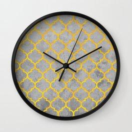 oriental pattern, traditional design, black , yellow, grey  Wall Clock