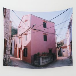 Pink house Wall Tapestry