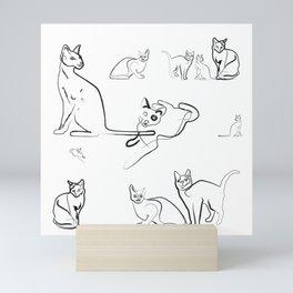 Cat Cartoon Race Mini Art Print