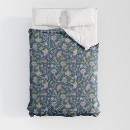 Flower Meadow Pattern - Commodore Blue Comforters