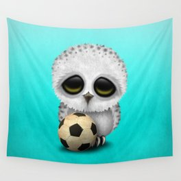 Cute Baby Owl With Football Soccer Ball Wall Tapestry