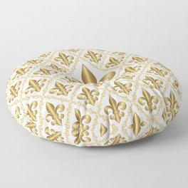 Gold Fleur-de-Lis Pattern Floor Pillow