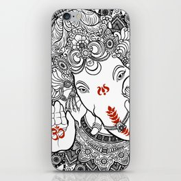 Ganesha Lineart Black iPhone Skin