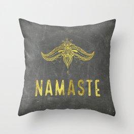Namaste golden on chalkboard decor Throw Pillow