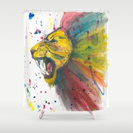 Lion - Watercolor Painting Shower Curtain