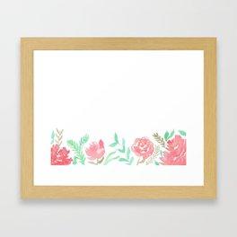 Pink Florals And Mint Leaves Framed Art Print