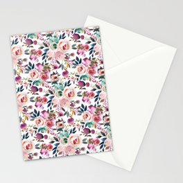 Hand painted blush pink purple watercolor floral Stationery Cards