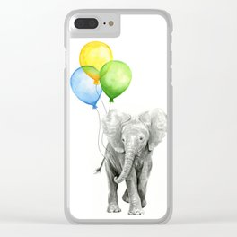 Elephant Watercolor Baby Animal with Balloons - Blue Yellow Green Clear iPhone Case
