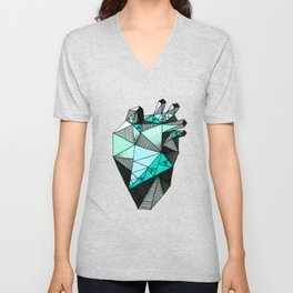 Single Minty Heart Unisex V-Neck