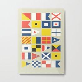 Geometric Nautical flag and pennant Metal Print