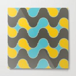blue yallow gray wave Metal Print