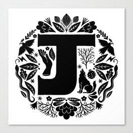Letter J monogram wildwood Canvas Print