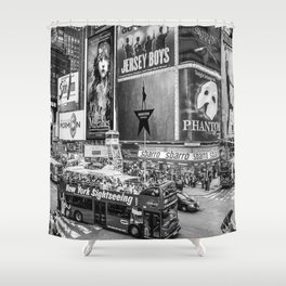 Times Square II (B&W widescreen) Shower Curtain