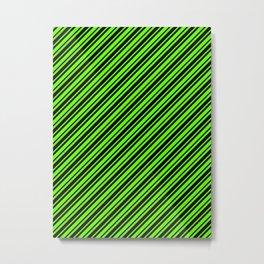 Bright Green and Black Diagonal RTL Var Size Stripes Metal Print