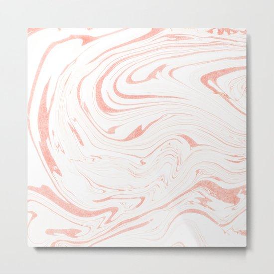 Rose Gold Marble Ink Swirl Metal Print