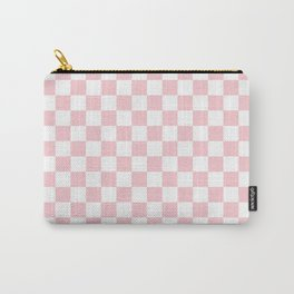 Large White and Light Millennial Pink Pastel Color Checkerboard Carry-All Pouch