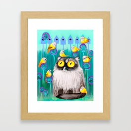 Persian Cat and Birds Framed Art Print