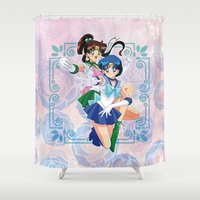 sailor jupiter Shower Curtains featuring Sailor Mercury and Sailor Jupiter by Neo Crystal Tokyo