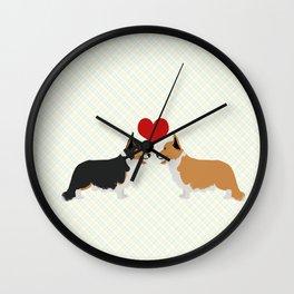Pembroke Welsh Corgi Dogs Art - two corgis in love Wall Clock