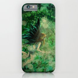 Abstract illustration of fairy fly in the forest iPhone Case