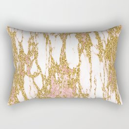 Gold Marble - Intense Glittery Yellow and Rose Gold Marble Rectangular Pillow