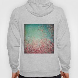 Blue Autumn, Pink leafs on blue, turquoise, green, aqua sky Hoody