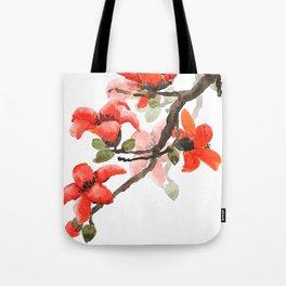 red orange kapok flowers watercolor Tote Bag