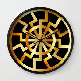 Black Sun symbol in gold- Schwarze Sonne- Occult subculture symbol Wall Clock