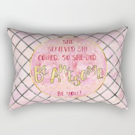 Text Art SHE BELIEVED | rose/golden Rectangular Pillow