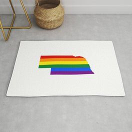LGBT_flag_map_of_Nebraska Rug