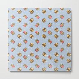 Cute pink brown blue funny fries burger food triangles pattern Metal Print