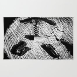 Black and white corkscrew Rug