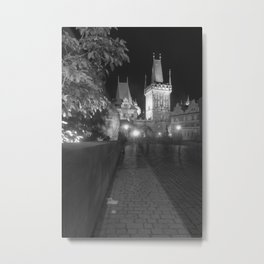 Saint Charle's bridge at night Prague Metal Print