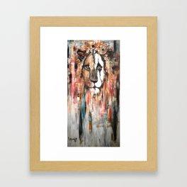Sad lion Framed Art Print