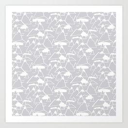 Mountain Scene in Grey Art Print