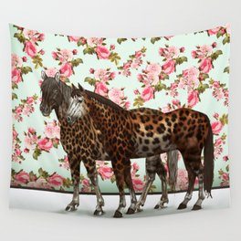 Leopard Horses Wall Tapestry