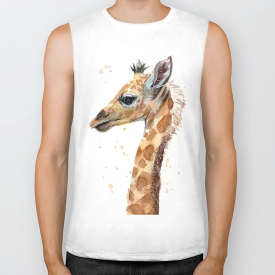 Giraffe Watercolor Cute Baby Animals Whimsical Art Biker Tank
