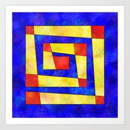 Semirenium - simple coloured cube world Art Print
