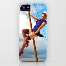 """""""Ahoy!"""" - The Playful Pinup - Classic Sailor Pinup Girl by Maxwell H. Johnson iPhone Case"""