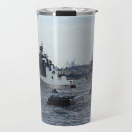 Russian Navy Battleships with passenger boats on Neva River. Travel Mug