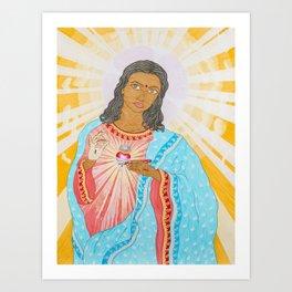 Sacred Heart (self-portrait) Art Print